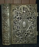 Book Of Common Prayer / Ornate Silver Cover / Red Letters / 2 Working Clasps