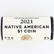 2021 D Native American Sacagawea Dollar Bu Mint Wrapped H/t Roll 25 Us Coin Lot