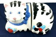 Coco Dowley Cookie Jar Black And White Cat Two Piece Ceramic Pot