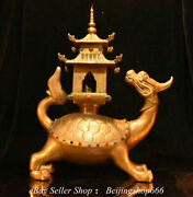 18 Chinese Bronze 24k Gold Gilt Inlay Gems Fengshui Dragon Turtle Pagoda Statue