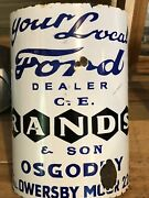 Ford Curved Porcelain Enamel Pole Sign C.e. Rands And Son Osgodby Reproduction