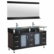 60 Vanity Cabinet With Sink Glass Top And Mirror Espresso By Lesscare