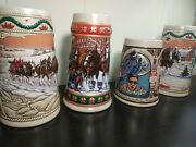 Set Of 4 Budweiser Collectorand039s Beer Stein Mugs 1992 Olympics // 1993 Win Holiday
