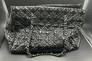 Italy Authentic Black Patent Vinyl Rock In Moscow Logo Shoulder Hand Bag