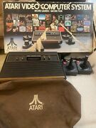 Atari 2600 Console Cloth Cover, Two Controllers In Box- Tested And Working