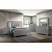 Contemporary Style Bedroom Furniture 4pc Set Queen Size Bed Dresser Mirror Ns