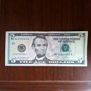 5 Dollar Bill From 2013 Binary Serial Number Geat Condition