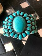 Navajo Kirk Smith Cluster Turquoise Sterling Silver Cuff