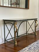 Mid Century Hollywood Regency Italian Brass And Marble Seahorse Console Table