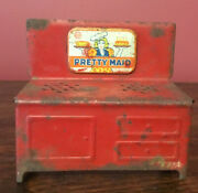 Vintage Pretty Maid Tin Toy Stove Red 5 X 4 1/2 X 2 1/2