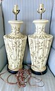 Vintage Pair Of Ceramic Table Lamps With Bamboo Decoration