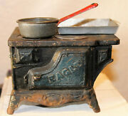 Antique Cast Iron And Sheet Metal Eagle Toy Cook Stove Salesman Sample Doll House