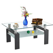 Rectangle Glass Coffee Table Tempered Glass Top 2-tier W/iron Leg 2 Color Modern