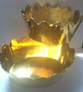 Pair Vtg Mcm Heavy Solid Brass Scalloped Crown Edge Oval Planters Made In India