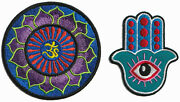 Lot Of 2 Hindu Aum Om Lotus Peace Trance Hamsa Hand Appliques Iron-on Patches