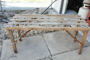 Antique Wood Wash Beatty Bros Tub Stand Bench Rack Folds Up Farm Decor Table