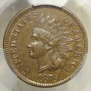 1876 Indian Cent, Popular Centennial Date, Pcgs/cac Au-58, Scarce With Cac