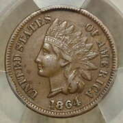 1864-l Indian Cent, 1864/1864 Repunched Date, Rpd, Snow-1, Fs-2301, Pcgs Xf-45