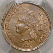 1872 Indian Cent Choice Uncirculated Pcgs/cac Ms-64bn Rare And Nice Color
