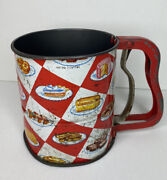 Vintage Androck Flour Sifter Red White Checker Baked Goods Rusty Metal Kitschy