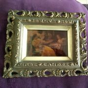 Antique French Pierced Giltwood And Gesso Picture Frame With Chrystoleum