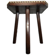 English Art Deco Style 20th Century Solid Elm Brass Studded Milking Dairy Stool