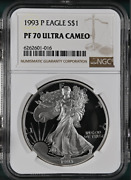 Pf70 Ucam 1993-p American Silver Eagle - Brown Label Ngc Spot Free White