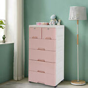 Modern 6-drawers Chest Dresser Storage Cabinet Collection Home Furniure Pink Us