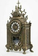 Beautifull A Large Mantel Clock Antique Italy Hand Carved Decorative Used
