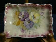 Antique Aa Sonn Germany Hand Painted Floral Porcelain Small Dresser Tray Very Gd