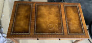 Antique Heritage Mahogany Leather Top Coffee Table 1960andrsquos...