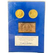 Us Bicentennial Gold Coin Set 2 1976 Gold Plate Kennedy Half Dollar And 23k Stamp