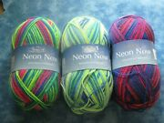 Plymouth Neon Now Yarn Wool/nylon Lot Of 3 Variegated 100g Made In Italy