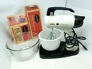 Vintage White Sunbeam Mixmaster Mixer W/ 2 Bowls + Meat Grinder And Chopper Lot