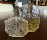 2 Vintage Lalique Glass Perfume Bottles Ombre Rose By Jean-charles Brosseau
