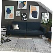 Paxson Convertible Futon Couch Bed With Linen Upholstery And Wood Legs - Navy