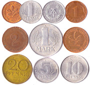 10 Germany Coins From East And West Europe Pfennig Mark 1948-2001. Perfect For