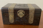 Vintage Chinese Wooden Jewelry Box Brass Fixtures And Intricate Carving