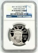 2011-w Platinum Eagle 100 Proof Ngc Early Releases Pf70 Perfect