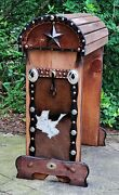 Saddle Stand Pine Wood Saddle Rack W/ Cowhide-conchos-tooled Leather -metal Star