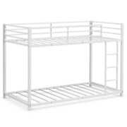 Twin Over Twin Bunk Bed Frame Platform W/ Guard Rail And Side Ladder Bedroom Home