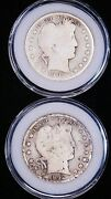 1906-d And 1912-d Barber Silver Half Dollar Lot Of 2 Coins In Airtight Caps G168