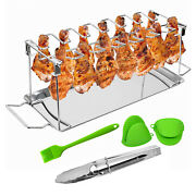 Bbq Picnic Chicken Wings Leg Rack Grill Holder W/ Drip Pan For Oven Barbecue
