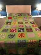 """Vintage Country Farmhouse Patchwork Hand Made 78x96"""" Green With Multicolored F/q"""