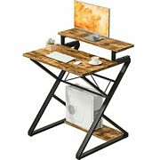 Computer Desk For Small Space 27 Inches Small Gaming 27.6and039and039 Vintage Brown