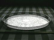 Vintage Viners Of Sheffield Chased Oval Silver Plated Tray Approx 39cm X 25cm.