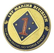 U.s. United States Marine Corps Usmc   1st Marine Division   Gold Plated Coin