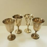 Four 4 Frank M. Whiting 044 Sterling .925 Antique Goblets, 4.3 Oz Each