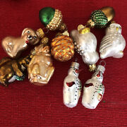 Department 56 Woodland Creature Figural Glass Feather Tree Christmas Ornaments