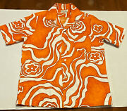 Vintage Tokhi Bark Cloth Hawaiian Shirt 1960and039s Menand039s Psychedelic Flower Lava
